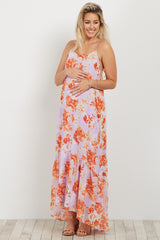 Lavender Floral Ruffle Trim Maternity Maxi Dress