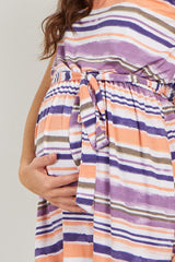 Coral Striped Sleeveless Sash Tie Maternity Top