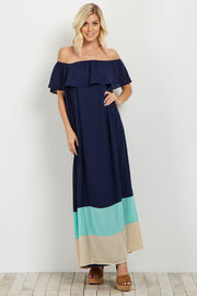 Navy Colorblock Off Shoulder Maxi Dress