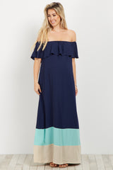 Navy Colorblock Off Shoulder Maternity Maxi Dress