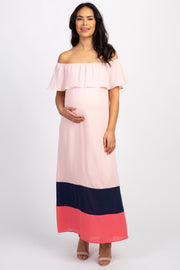 Peach Colorblock Off Shoulder Maternity Maxi Dress