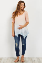 Peach Blue Ombre Asymmetrical Maternity Top