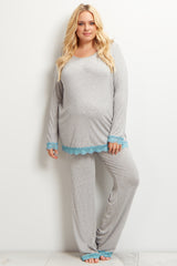 Light Blue Lace Trim Plus Maternity Pajama Set