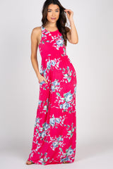 Magenta Floral Sleeveless Maternity Maxi Dress