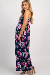 PinkBlush Navy Rose Racerback Matenrity Maxi Dress