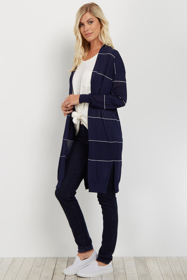 Navy Striped Open Cardigan