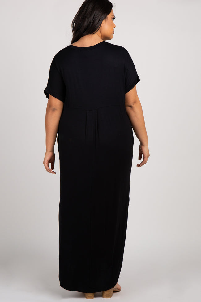 Black Basic V Neck Plus Maxi Dress
