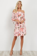 Pink Floral Off Shoulder Dress