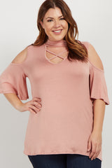 Peach Mock Neck Cutout Cold Shoulder Plus Maternity Top