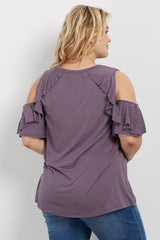 Purple Ruffle Accent Cold Shoulder Plus Maternity Top