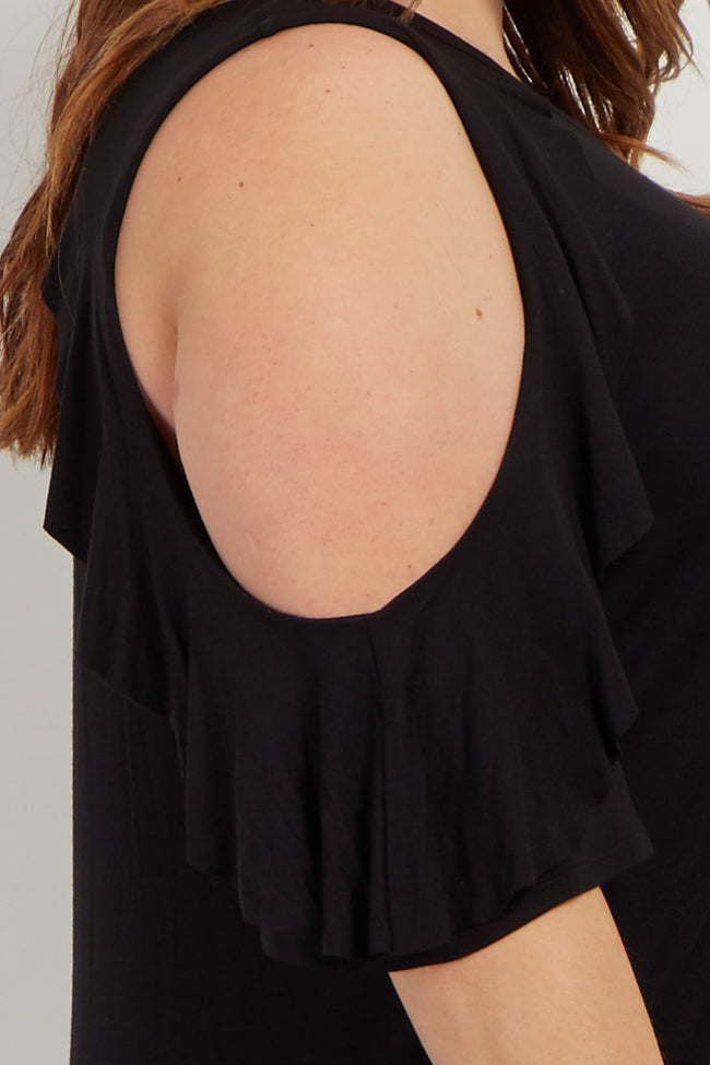 Black Ruffle Accent Cold Shoulder Plus Top
