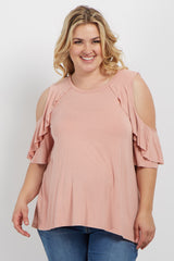 Peach Ruffle Accent Cold Shoulder Plus Maternity Top