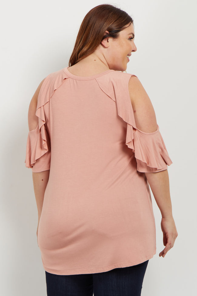 Peach Ruffle Accent Cold Shoulder Plus Top