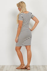 Ivory Navy Striped Fitted Maternity Dress