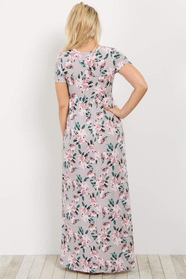 Grey Floral Short Sleeve Maternity Maxi Dress