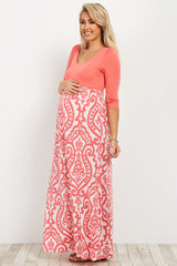 Coral Damask Bottom Maternity Maxi Dress