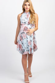 Light Blue Floral High Neck Maternity Dress