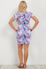 Light Pink Rose Print Fitted Maternity Dress