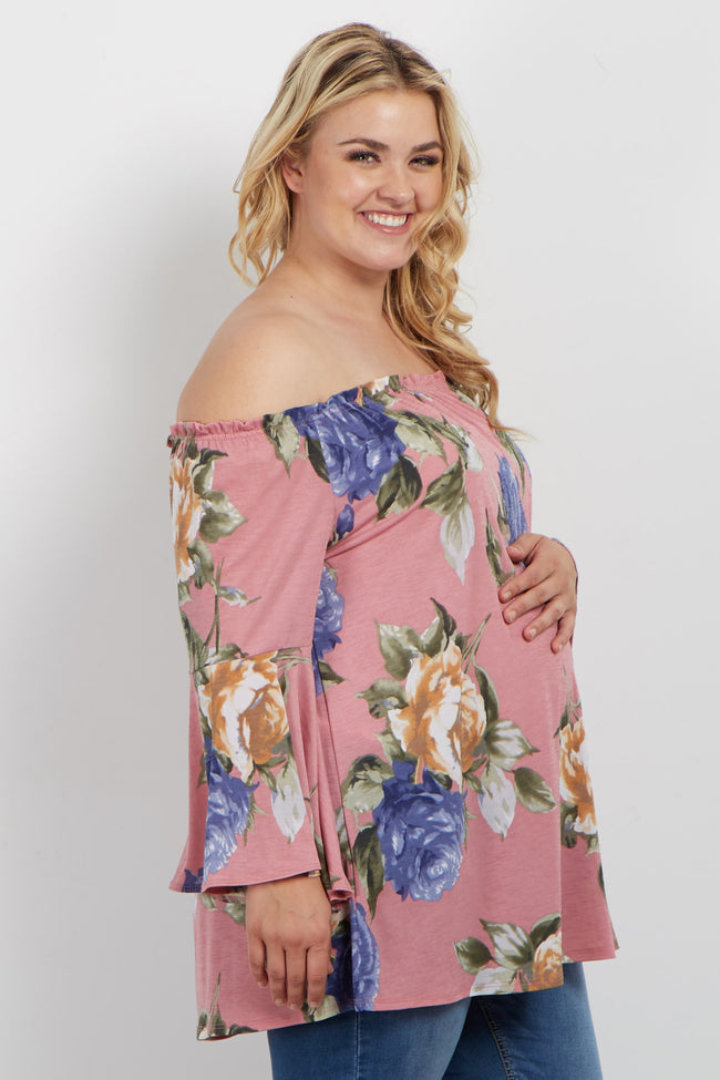 Pink Floral Off Shoulder Bell Sleeve Plus Maternity Top