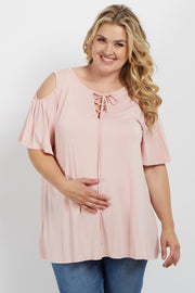 Pink Cold Shoulder Lace Up Plus Maternity Top