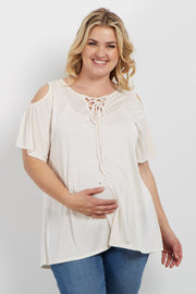 Cream Cold Shoulder Lace Up Plus Maternity Top