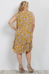 Yellow Floral Ruffle Trim Plus Maternity Dress
