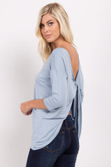 Light Blue Twisted Back Top