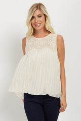 Cream Crochet Pleated Chiffon Blouse