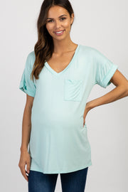 Mint Basic V Neck Maternity Tee