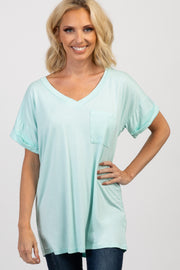 Mint Basic V Neck Tee