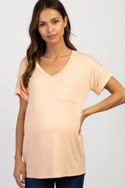 Peach Basic V Neck Maternity Tee