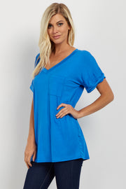 Blue Basic V Neck Tee