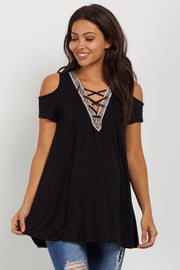 Black Tribal Trim Lace Up Maternity Top