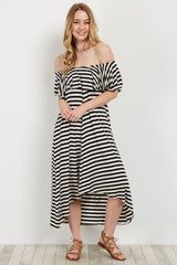 Black Striped Off Shoulder Hi-Low Dress