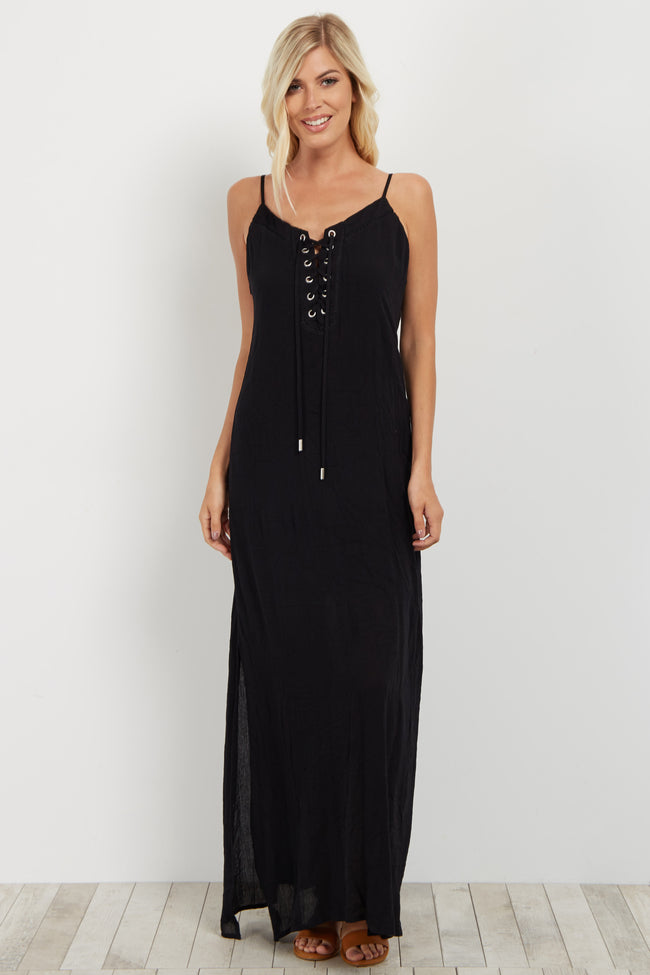 Black Lace-Up Maxi Dress