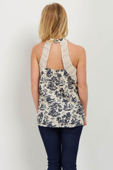 Navy Printed High Neck Top