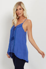 Blue Crochet Tassel Tie Top
