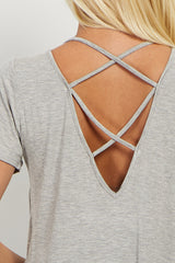 Grey Crisscross Cutout Back Top