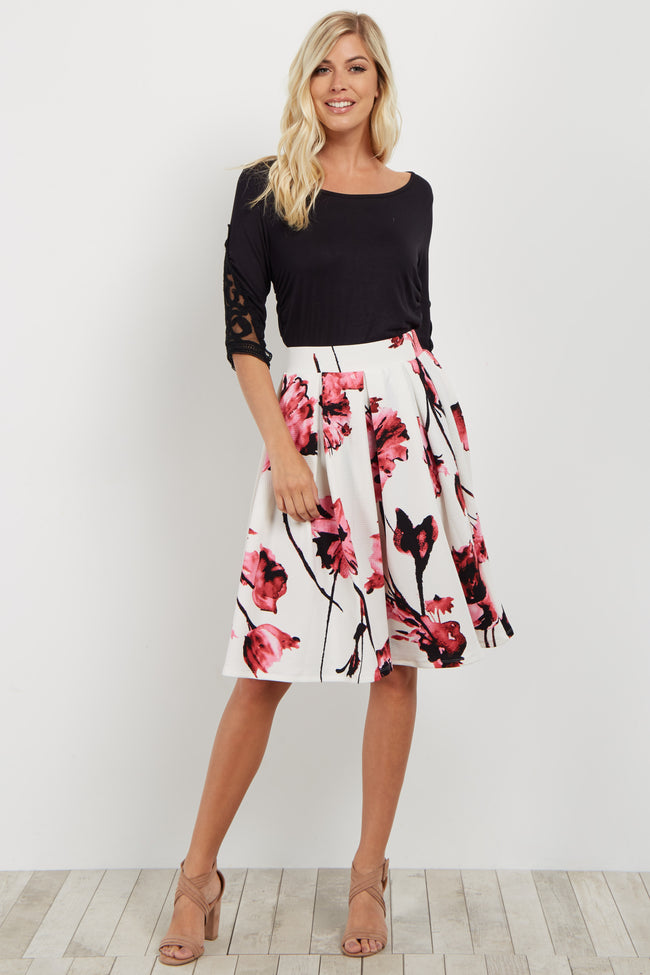 Pink Floral Pleated Flare Skirt