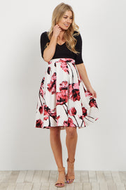 Pink Floral Pleated Maternity Flare Skirt