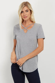 Heather Grey Crisscross Cutout Ribbed Top