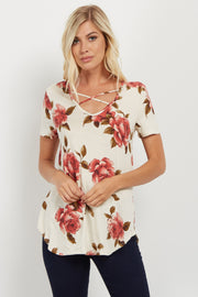 Red Floral Crisscross Accent Top