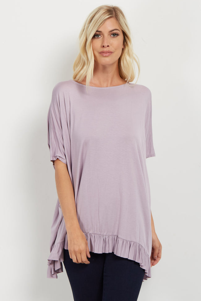 Lavender Ruffle Trim Dolman Sleeve Maternity Top