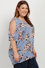 Blue Floral Cold Shoulder Crisscross Plus Blouse