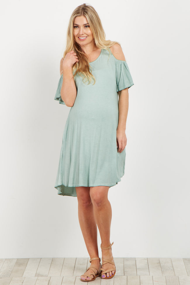 Green Crochet Cold Shoulder Maternity Dress
