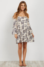 Cream Floral Open Shoulder Maternity Dress/Tunic