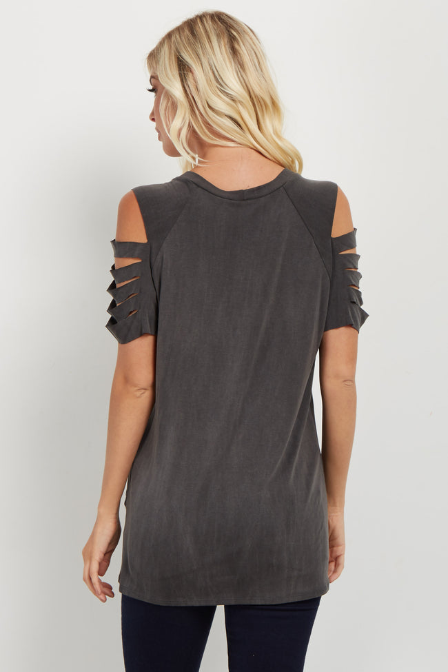 Charcoal Raw Cut Sleeve Cutout Top