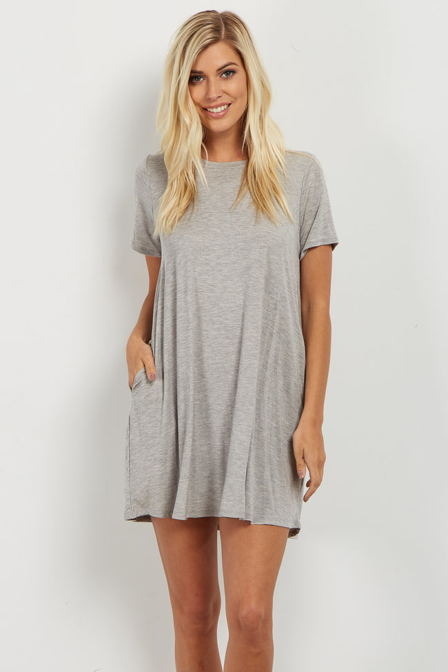 Heather Grey Bamboo Basic Short Sleeve Dress