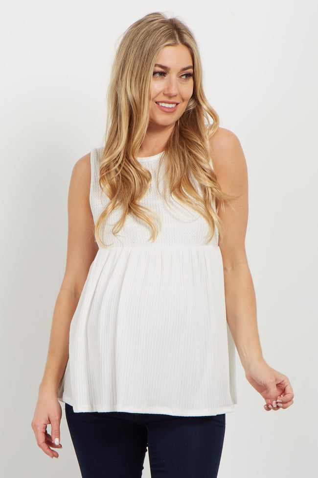 Ivory Sleeveless Knit Maternity Top