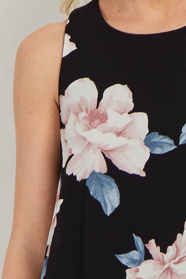 Black Floral Chiffon Shift Dress